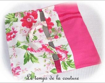 Bag pie - tart door - shades of pink, white and green - handmade