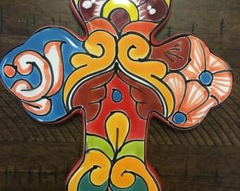 talavera cross/ talavera wall cross/ decorative cross/ hand painted cross/ trebel cross/cross wall decor/ colorful cross/talavera wall cross