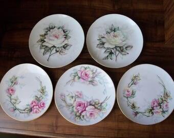 """5 Vintage porcelain desert/salad 7.5""""plates. Germany(#EV115)"""