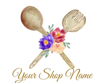 Premade Logo, Cooking Logo, Baking Logo, Restraunt Logo, Business Branding, Business Cards, Shop Graphics, Custom Logo, Wooden Spoons