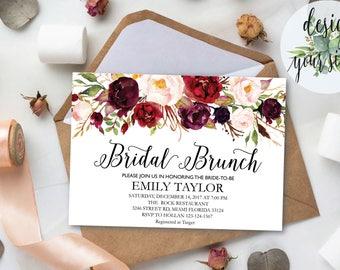 Bridal Brunch Invitation, Watercolor bridal invite, Floral Bridal Shower Card, Instant Digital Download File, Flower Bride DIY, Brunch 06