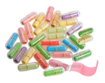 100 x Cute Capsule Letter Message in a Bottle Tubes Mini Love Pill Letters Colorful  Secret Fun Equipment for Party Games Friendship Gift