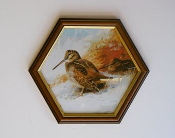 Winter Woodcock fine art giclee Thorburn print framed in a  hand made hexagonal wooden frame