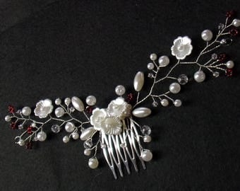 Red and white wedding hair comb hair vine hair comb with pearls and flowers
