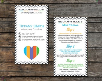 Rodan and Fields Mini Facial Card, Rodan and Fields Give It A Glow, Fast Personalized, Rodan and Fields Business Cards, RF13