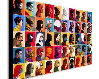 Marvel Comics Super Heroes Head Shot Collage Canvas Wall Art Print - Various Sizes