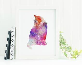 Printable Watercolor, Cat Poster, Cat Art Print, Cat Wall Art, Cat Watercolor, Printable Cat Art, Cat Wall Print, Nursery Cat Print, Digital
