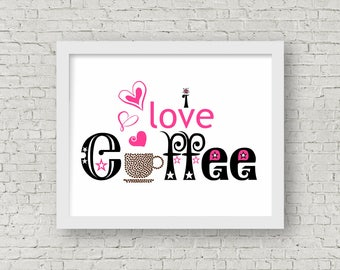 Coffee Poster // Coffee Printable, Digital Print, Instant Download, Kitchen Printable, Coffee Print, Coffee Art, Coffee Lover, Pink, Coffee