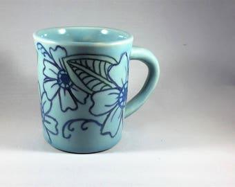 Handmade pottery mug, wheel thrown mug