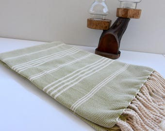 Olive Green and Ivory Stripes-Traditional Turkish Towel-Hand Loomed woven Bath Towel