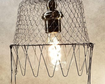 VTG Plain-Handled Collapsible Egg Basket Pendant Electric LED Light Kit to DIY Hard-Wire
