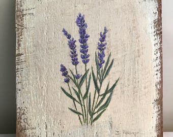 Lavender Folk Painting on reclaimed barn wood, 7 1/2 x8 1/2 by Zata Palange