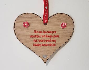 I love you Anniversary Gift Funny Adult Humour Wooden Heart I love you Sign Valentines Day Sign Love you sign Wooden Plaques Funny Sign Love