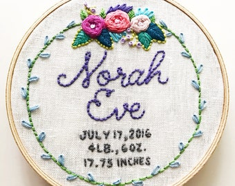 custom hand embroidered birth announcement // personalized baby gift // baby name art