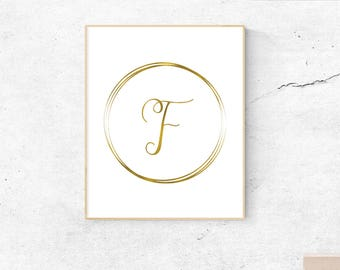 Letter F, gold, monogram, letter, initial, instant download, gold poster, printable art, wall art, gold monogram