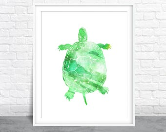Turtle Art, Green Watercolor, Ocean Watercolor, Tropical