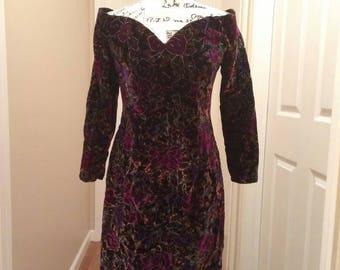 Velvet Floral Wiggle Dress
