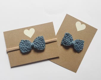 Blue hand knit bow - baby bow - hair bow - nylon headband or alligator clip
