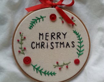 Embroidery Hoop- Merry Christmas Wreath