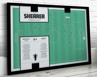 Football Print, Shearer Print, Newcastle Print, Football Gifts, Football Art