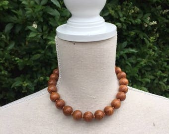 Necklace of wooden beads. Vintage necklace. Vintage choker