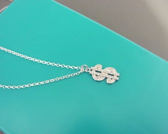 Sterling Silver Dollar Sign necklace, Money necklace, Dollar sign CZ  pendant, Sparkly hip hop necklace,  simple necklace, Teen gift