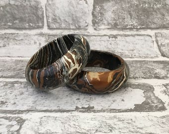 Marble Effect Wooden Bangles, Two wooden bangles with painted marble effects in brown, white, black and silver