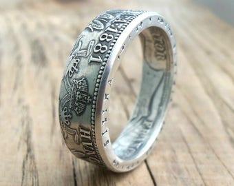 Silver Coin Ring Austria - Austrian Silver Rings - Austrian Men's Silver Ring from 1 Florin - Rings From Coins - Austrian Jewelry