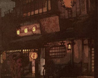 "Japanese Art Print ""Night in Kyoto"" by Yoshida Hiroshi, woodblock print reproduction, asian art, cultural art, city, lights, lanterns"