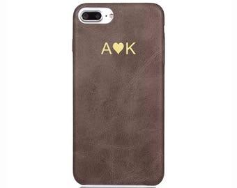 Personalised initials Brown Vintage PU Leather Love Heart Phone Case Apple iPhone 5 6 6s 7 8 10 X Plus Embossed Cover Customized Monogram