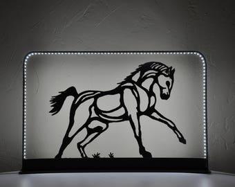 lampe,luminaire cheval en métal,cadre lumineux LED