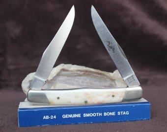 American Blade AB-24 2-Blade Pocket Knife with Genuine Smooth Bone Stag Handle