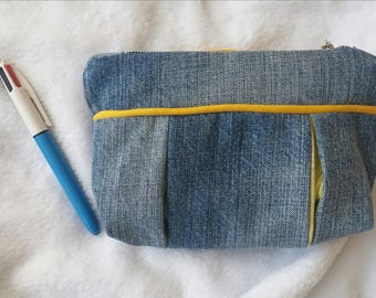 Small clutch bag made a recycled yellow t-shirt and jeans.