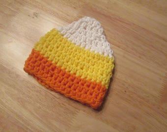 Hand crochet Candy Corn Beanie Hat Halloween Photo Prop Sizes Newborn to Adult