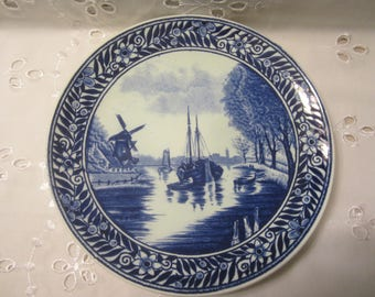 Boch Freres Delft Blue Wall Plate