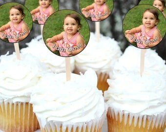 Picture Cupcake Toppers With Text, Happy Birthday Cupcake Toppers, Photo Cupcake Toppers, Printable Birthday Circles INSTANT DOWNLOAD 0301