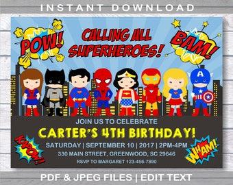 Superhero Invitation, Superhero Birthday Invitation, INSTANT DOWNLOAD, Superheroes Birthday, Comic Birthday Party, Superhero, Editable
