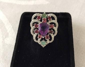 Sterling Silver Amethyst ,Garnet and Emerald Ring