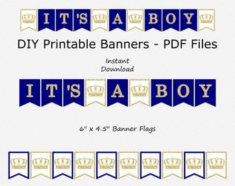 SALE It's A Boy Banner - Navy Blue & Gold Glitter - Crown - Little Prince Boy Baby Shower - DIY Printable - Instant Download