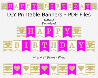 Happy Birthday Banner - Hot Pink & Gold Glitter - Heart - Stripes - PRINTABLE - INSTANT DOWNLOAD