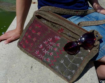 Cross body bag. Grey and red embroidered corduroy shoulder purse. Shoulder bag for notebook, books, supplies. Gift for Boho student girl