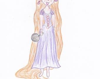 "Rapunzel W/Frying Pan ""Tangled"" Print-5x7"