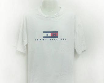 Tommy Hilfiger T Shirt Made In USA Logo Hip Hop Streetwear