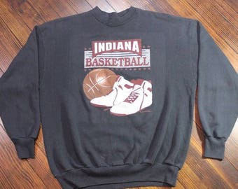 Vintage Indiana Hoosiers Basketball High Tops Jordan Black Sweatshirt 80s 90s Large