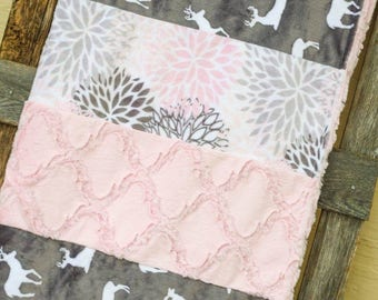Baby Pink Deer Child Size Blanket