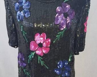 Gorgeous Floral Sequin Top