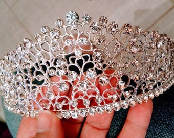 Bridal Tiara Wedding Crown Elegant Bridal Prom Tiara Gorgeous Sparkling Silver Prom Wedding Diamante Pageant Tiaras Hairband Crystal