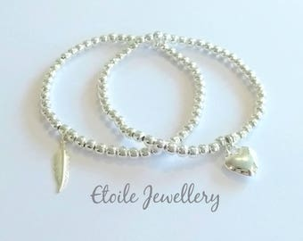Silver Bracelets, Heart Bracelet, Feather Bracelet, Stretch Bracelets, Beaded Bracelets, Stacking Bracelets, Bracelets for Women