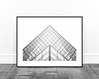 Louvre Museum, Paris Photography, Architecture Print, Glass Building, Modern Print