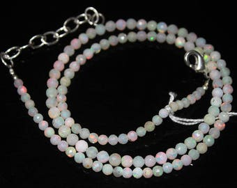 """Welo Fire Ethiopian Opal Micro Faceted Round Ball Gemstone Loose Craft Beads Strand Necklace 3mm 3mm 4"""" 33.3ct #378"""